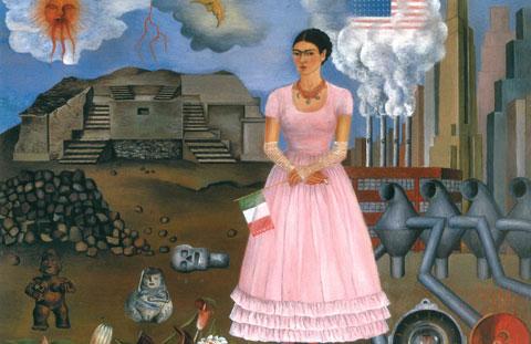 Frida Kahlo, Autoritratto al confine tra Messico e Stati Uniti, 1937, Olio su piastra di rame, cm 31,7 x 35, Collezione Privata, © Banco de México Diego Rivera & Frida, Kahlo Museums Trust, México D.F. by, SIAE 2014