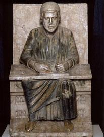 Maestro Campionese, Virgilio in cattedra, 1215 ca., marmo, Mantova, Museo della Città - Palazzo di San Sebastiano, inv. 11605