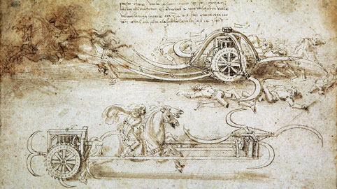 Leonardo da Vinci, Studi di carri d'assalto