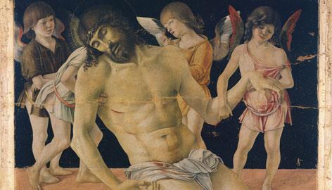 Giovanni Bellini, Cristo in pietà sorretto da quattro angeli (1470 ca.), tempera e olio su tavola, trasportata su tela e fissata su supporto di vetroresina e alluminio, Rimini, Museo della Città