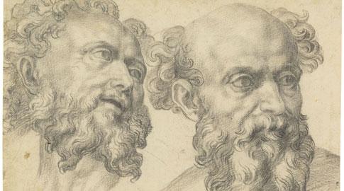 Baccio Bandinelli, Studio di due teste virili, c. 1550-1555, Matita nera, Firenze, Gabinetto Disegni e Stampe degli Uffizi