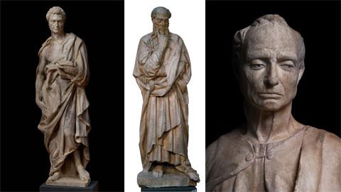 Tre sculture di Donatello:<br /><em>Geremia</em>, ph. Antonio Quattrone;<br /><em>Profeta barbuto o pensieroso</em>, ph. Orsi Battaglini;<br /><em>Profeta imberbe</em> (particolare), ph. Antonio Quattrone.<br />Courtesy Opera di Santa Maria del Fiore