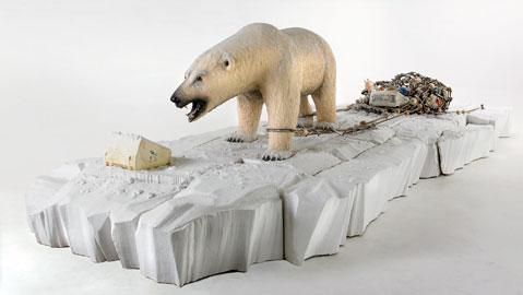 Bertozzi & Casoni, Composizione in bianco, 2007, ceramica policroma e bronzo, cm. h. 150 x 600 x 300
