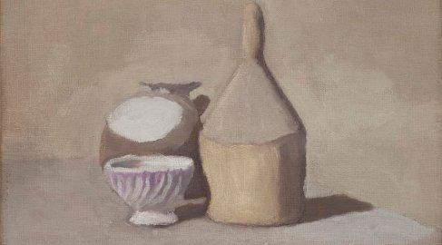 Giorgio Morandi: Natura morta,1948 olio su tela. Collezione Merlini