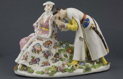 Manifattura di Meissen (modello di Johann Joachim Kändler), Il baciamano polacco, Venezia collezione Nani Mocenigo – Le Gallais