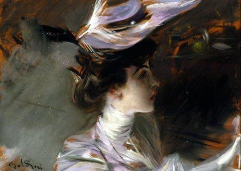 Giovanni Boldini Il cappellino nuovo (Ritratto di Lina Cavalieri), 1898 circa Olio su tavola, 27 x 33 cm