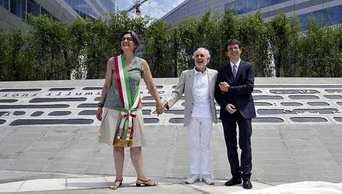 Ada Lucia De Cesaris, Emilio Isgrò, Filippo Del Corno - Inaugurazione piazza Valle a Milano Portello