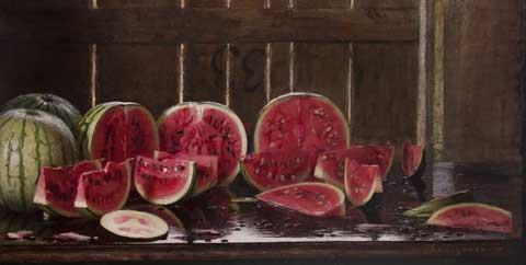 Emilio Longoni, Angurie, olio su tela, 62,5 x 120 cm