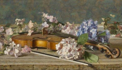 Emilio Longoni, Ortensie, olio su tela, 39 x 74 cm