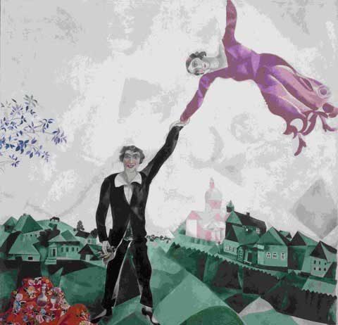 Marc Chagall, La passeggiata, 1917-1918, olio su tela, State Russian Museum, San Pietroburgo © Chagall ®, by SIAE 2014