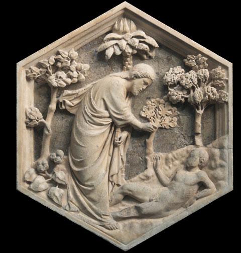 Andrea Pisano, formella con Creazione di Adamo dal Campanile di Giotto, Museo dell'Opera del Duomo, Firenze