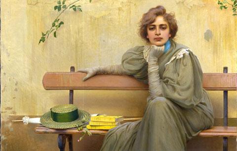 V. Corcos, Sogni, 1896, Galleria Nazionale d'Arte Moderna e Contemporanea di Roma, particolare