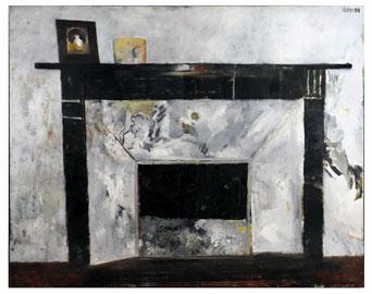 """Mario Lattes, """"Il caminetto"""", 1988, olio su tela, cm 80 x 100"""