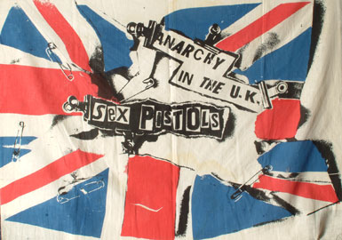 Jamie Reid, Anarchy in the UK Muslin Flag, 1976. Screenprint on muslin, mm 700x900, Jamie Reid copyright Sex Pistols Residuals