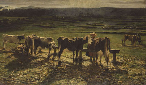 Segantini, Alla stanga, 1886, olio su tela, 170 x 390 cm, Roma, Galleria nazionale d'arte moderna e contemporanea