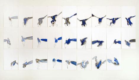 Antonio Mottolese, Messa in opera, 2009, inchiostro su carta, 26 elementi, cad. 48x33 cm