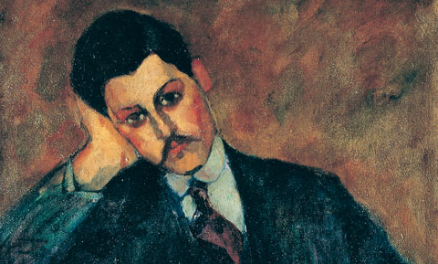 Amedeo Modigliani, Ritratto di Jean Alexandre (recto), 1909 Olio su tela, 81 x 60 cm Collezione privata (particolare)