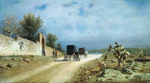 Francesco Lojacono, Strada di campagna (Un giorno di caldo in Sicilia), 1877, olio su tela, Napoli, Museo di Capodimonte (in deposito a Roma, Camera dei Deputati)