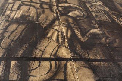 """Mario Sironi Cartone per la vetrata """"l'Annunciazione"""" Chiesa del Nuovo Ospedale Niguarda Carboncino su carta da spolvero riportata su tela 1938-1939 cm 236x238 collezione privata"""