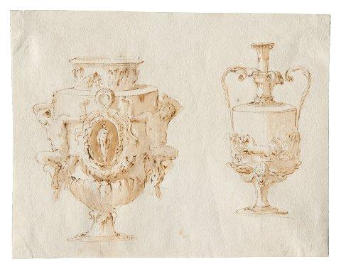 Giambattista Tiepolo, Vasi, penna e inchiostro bruno, inchiostro diluito bruno, su traccia di grafite, mm 189x240, Trieste, Civico Museo  Sartorio, inv. 1913