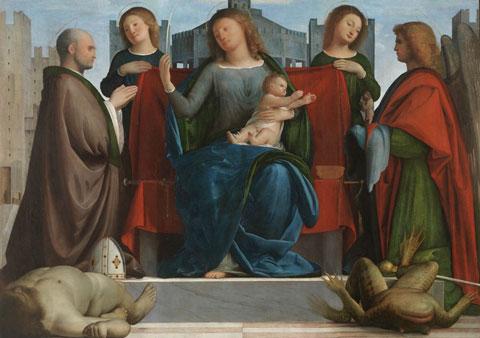 Ambrosiana , Bramantino, Madonna con Bambino, i Santi Ambrogio e Michele