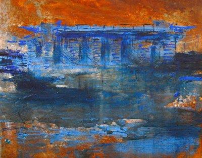 Alessandro Busci, San Siro_blu, smalto su ferro, 40x40 cm, 2014