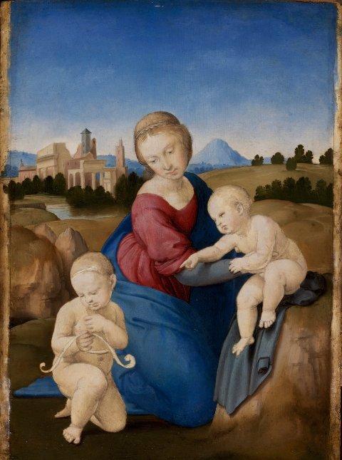 Raffaello, Madonna col Bambino e san Giovannino (Madonna Esterházy), circa 1508 tempera e olio su tavola, 28,5 x 21,5 cm, Budapest, Museo di Belle Arti, (Szépművészeti Múzeum)