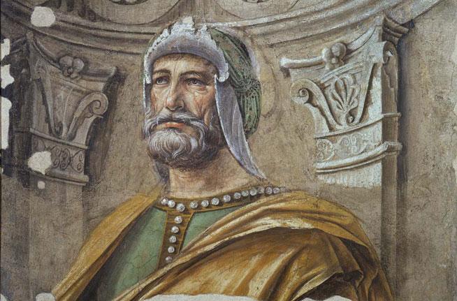 Donato Bramante, Uomo d'arme con barba ed elmo (1487-1488 ca.), affresco strappato e trasportato su tela; 120 x 115 cm, Milano, Pinacoteca di Brera