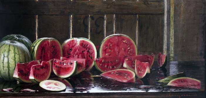 Emilio Longoni, Tavolo con angurie, olio su tela, 62x120 cm Collezione privata