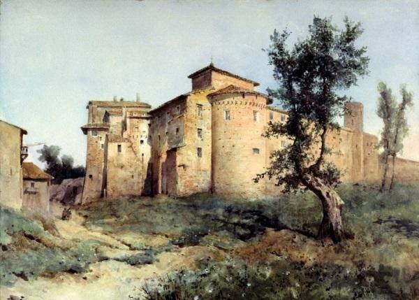 Ettore Roesler Franz, La Rocca dei Santi Quattro Coronati, 1884 - Acquerello su carta