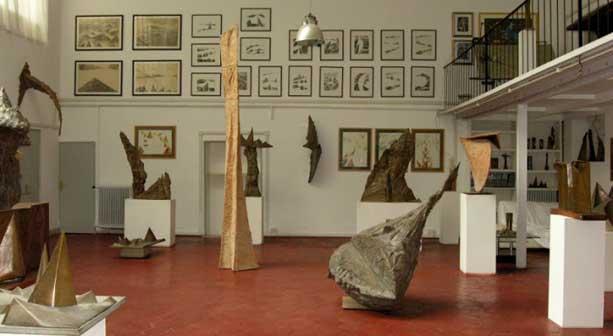 Opere nello studio di via del Vantaggio-Foto di Eugenio Monti