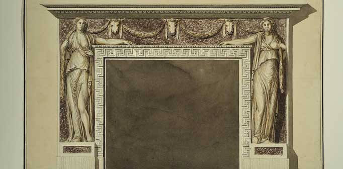 Camino in porfido, marmo bianco e bronzi dorati, penna, inchiostro, acquarello su carta