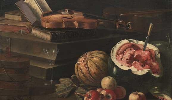 Cristoforo Munari, (Reggio Emilia, 1667 - Pisa, 1720), Natura morta con violino, libro e frutta, Olio su tela, 113 x 86 cm, MORETTI FINE ART – Firenze, Londra, New York