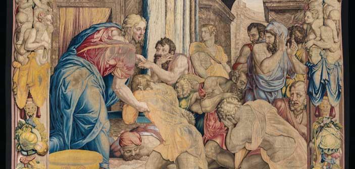 Giuseppe perdona i fratelli, 1550-1553, disegno e cartone di Agnolo Bronzino, atelier di Nicolas Karcher, Firenze, Soprintendenza Speciale PSAE e per il Polo Museale