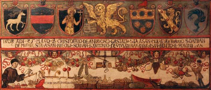 Pittore del XIV secolo, Insegna dell'Arte dei Frutaroli, olio su tavola, 1508. Venezia, Museo Correr