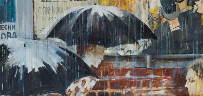 Jurij Pimenov, Cartelloni sotto la pioggia, 1973, 86,7х80,7 - Particolare