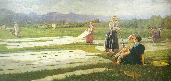 Eugenio Spreafico, Alla sbianca, 1904, olio su tela, cm 112.5×252, Collezione privata, courtesy Montrasio Arte, Monza e Milano