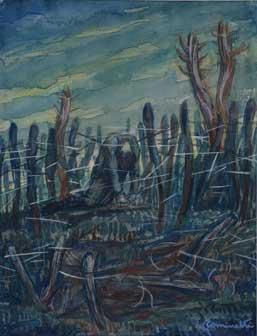 Giuseppe Cominetti: Fra i reticolati , 1918, 29 x 22,5, acquerello