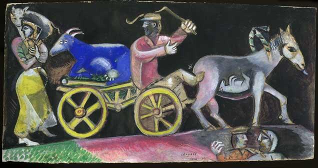 Marc Chagall, Studio per The Cattle Dealer, 1912, Gouache e grafite su carta, 15, 7x31 cm, Lascito Jules Lubell, New York, all'American Friends of the Israel Museum, in  memoria della nonna Chaya Austern Fuchs © Chagall ® by SIAE 2015