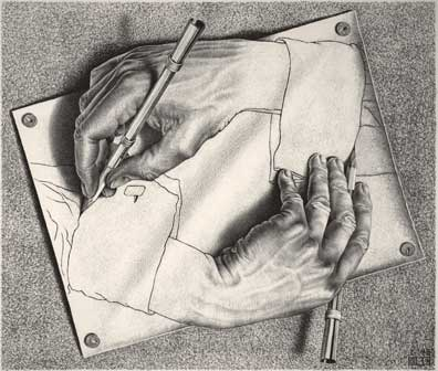 Maurits Cornelis Escher, Mani che disegnano / Drawing Hands, 1948, Litografia, 28,20x33,20 cm, The M.C. Escher Holding b.V., All M.C. Escher works © 2015 The M.C. Escher Company. All rights reserved