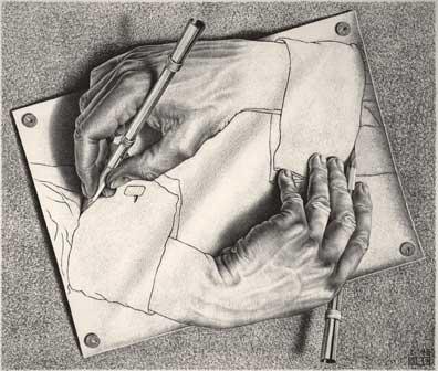Maurits Cornelis Escher, Mani che disegnano / Drawing Hands, 1948, Litografia, 28,20x33,20 cm, The M.C. Escher Holding b.V., All M.C. Escher works © 2015 The M.C. Escher Company. All rights reserved
