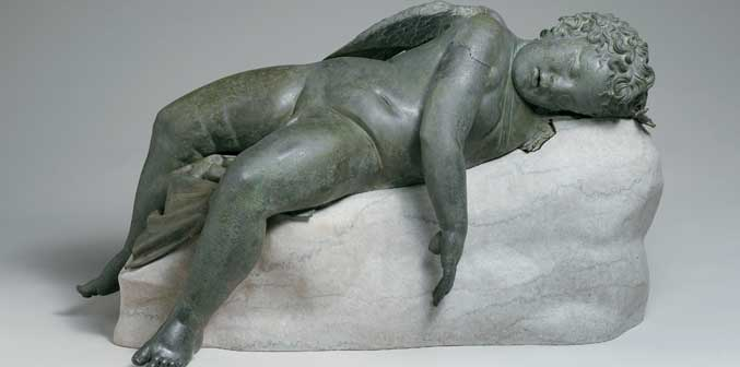 Eros dormiente III-II secolo a.C.,  bronzo  cm 41,9 x 85,2 x 35,6 cm 45,7, con base, New York, The Metropolitan Museum of Art