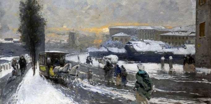 Mosè Bianchi, Neve a Milano, 1895, Olio su tavola, 48,5 x 73,5 cm
