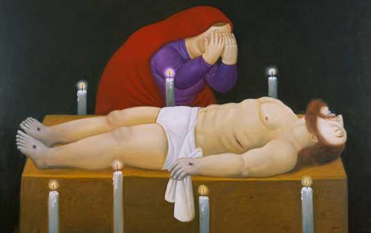 Fernando Botero, Cristo è morto, 2011, Olio su tela, 134 x 191 cm