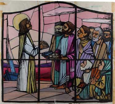 Silvio Zanella La moltiplicazione dei pani e dei pesci, studio per la vetrata Chiesa di Sant'Antonio, Gallarate acquerello, 61x67,5, 1962