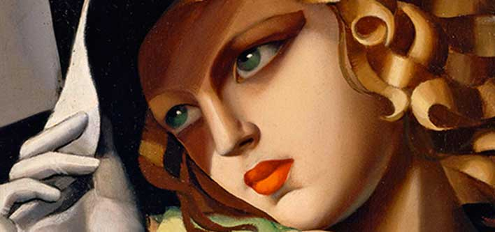 Tamara de Lempicka, Ragazza in verde (particolare), 1930-1931, Olio su compensato, 61,5x45,5 cm, Parigi, Centre Pompidou, Musee national d'art moderne / Centre de creation industrielle, Acquisto, 1932 © Tamara Art Heritage. Licensed by MMI NYC/ADAGP Paris/ SIAE Roma 2015