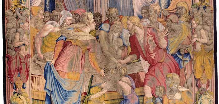 Giacobbe benedice i figli di Giuseppe, 1550-1553, disegno e cartone di Agnolo Bronzino, atelier di Nicolas Karcher, Firenze, Soprintendenza Speciale PSAE e per il Polo Museale