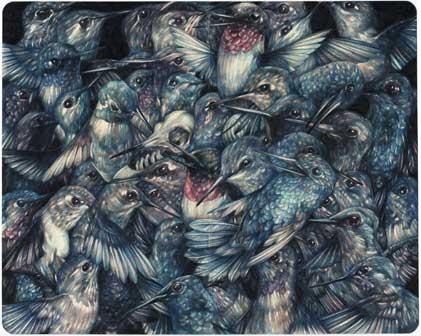 "Marco Mazzoni – ""Funeral for a Friend"" 2015 matite colorate e inchiostro su carta moleskine, cm 21x26"