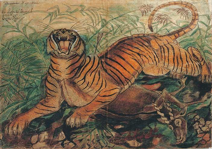 Antonio Ligabue, Tigre reale, china e pastelli a cera su carta intestata dell'Ospedale Psichiatrico San Lazzaro di Reggio Emilia, 1941, 36x50 cm