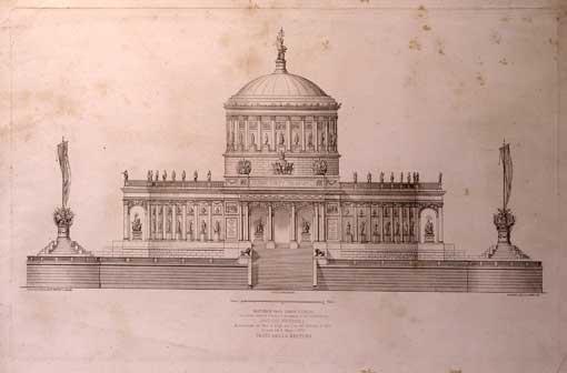 Ersoch-'Pantheon degli uomini illustri', macchina pirotecnica per Castel Sant'Angelo, 1872